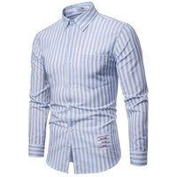 Men 2019 New Striped Long Sleeves Mens Dress Shirts Camisa M...
