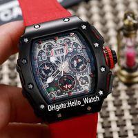 저렴 한 새로운 Flyback Chrono RM11-03 RM011 해골 다이얼 자동 망 시계 PVD 블랙 스틸 케이스 11-03 레드 나일론 스트랩 시계 Hello_Watch