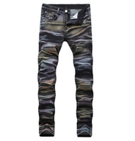 Fashion Mens Designer Jeans Ripped Distressed Long Denim Striped Color Jean Pants Fashion Trousers