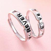 Amor para siempre pares del anillo nuevos hombres avanzada y carta simple Mujeres Par de apertura ajustable de plata esterlina anillo Par 925 al por mayor