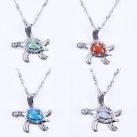 Pendentif tortue d'Opale Colliers argent 925 chaîne de design de mode unisexe Charme animal Collier Bijoux Parti Femmes Hommes Coffret Cadeau 5colors