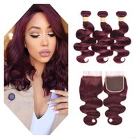 Brazilian Virgin Human Hair Bundles With Lace Closure Red Bu...