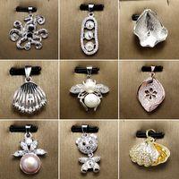 Promotion! Collier De Perles Des Animaux Zircon Argent Collier pour Femmes Fille Avec Chaîne 12 Styles Bijoux DIY Réglages pour Cadeau