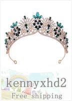 H1223 coreano copricapo di nozze, fascia dei capelli, fiore intarsiato con strass, corona nuziale, accessori abito da sposa, in lega di corona