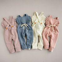 Kinder Kleidung, Mädchen, Jungen Backless gestreifter Spielanzug des neugeborenen Kindes Rüsche Straps Jumpsuits Sommer Overalls Baby Klettern Kleidung