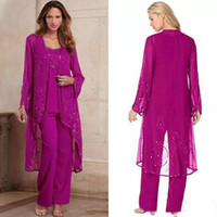 Plus Taille Fuchsia Mother of Bride Pant Suplan Three Morceaux Mère Mother Port Formel Perlaté Occasion Occasion Pantsuit avec veste