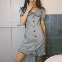 5d62dc8065f76 Yeni Gelenler. Yaz elbise kadınlar kawaii beyaz siyah ekose fırfır plaj  elbise vintage parti mini ...