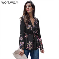 Wotwoy V- neck Printed Floral Blouses Women Sashes Long Sleev...