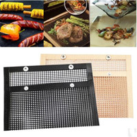 Grill Mat Non-Stick Mesh-Grilling Bag Outdoor Folding Grillrost Drahtgeflechte Tragbare Haushalts BBQ Grills Mesh-Tools 24 * 14CM ZYQ409