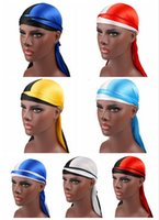 2019 جديد أزياء اثنين اللون الرجال الحرير durags باندانا العمامة الباروكات الرجال امرأة حريري دوراج أغطية الرأس عقال القراصنة قبعة اكسسوارات للشعر