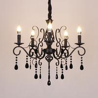 Lustre en cristal américain Simple Chambre Salon lumières Salle bougie pendentif en cristal Lumières Vêtements suspendus Escalier magasin Lampes