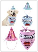 Pañuelo para el perro Bibs Bufanda para la cabeza Pañuelo para el perro Pet Cat Puppies Accesorios Fiesta de cumpleaños gorra sombrero lindo