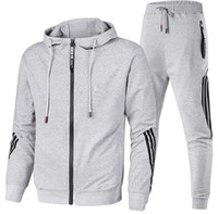 Men Tracksuit Fashion Natural Color Suits Casual Long Sleeve...