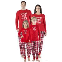 7bab2cfbda Navidad familia a juego Carta Imprimir Top Plaid Pantalones Pijamas Set  Navidad adultos hombres mujeres niños ropa de dormir