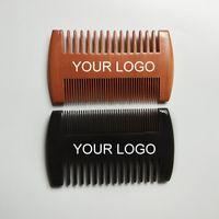 Logo personnalisé gratuitement dents grosses côtés double côtés en bois large peignes de cheveux en bois peigne à double face mâle barbe peigne