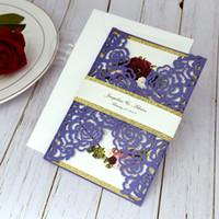 20 + color Impresión personalizada Glitter Botter Cut Cut Floral Pañuelo de bolsillo Invitación de boda con banda de vientre, Invitaciones de aumento