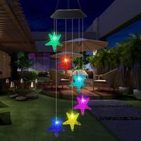 Lampe de cordes solaire à LED extérieure Romantique Souhaitant Bouteille Starfish Starfish Chefe Pending Lumière Pour Maison Jardin Patio Party Decor de mariage
