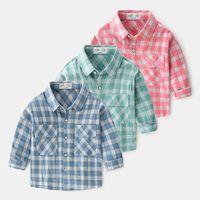 Мальчик дети дизайнерская одежда рубашка с длинным рукавом поворотный воротник в воротник плед печать рубашка мальчик причина 100% хлопок детская рубашка 3 цвета 90-130см