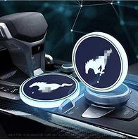 머스탱을위한 USB 충전식 인테리어 장식 조명과 자동차 스포츠 2PCS LED 컵 홀더 매트 패드 코스터