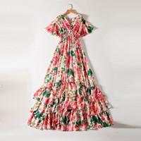 Новые европейские и американские женские платья для весны 2020 лотос листьев рукава V воротник пион печатает эластичное талию модное платье