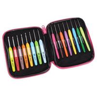 16pcs /セットソフトハンドルカラフルなアルミニウムかぎ針編みフック編み針キットクラフトケース編みセット織りツールミシン