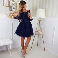 2020 Neue Kurzes Mini Royal Blue Homecoming Kleider Eine Linie Von Schulterfrei Spitze Appliques Lange Ärmel Tüll Plus Größen Party Kleid Cocktailkleider