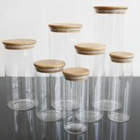 La tapa transparente de bambú Botellas Botes frasco de vidrio botellas de almacenamiento Corchos cubierta tarros para alimentos líquidos arena Eco vidrio amistoso IIA172