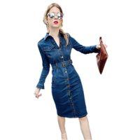 Осенние женщины повседневные джинсовые платья с длинным рукавом стройные женские платья джинсы платья ретро сексуальные джинсы женские платье Vestido