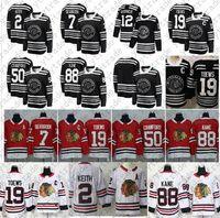 2019 Inverno clássico Jonathan Toews 88 Patrick Kane Chicago Blackhawks Jersey 2 Duncan Keith 14 Richard Panik Saad Crawford Hossa Hcokey
