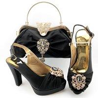 schwarz neue Art und Weise Frauen-Pumpen-Satz-Match Handtasche mit Kristalldekoration afrikanischen Absatzkleid Schuhen und Tasche QSL017, Ferse 11CM
