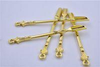 Uso de la cuchara de metal dorado para el sniffer Snorter HOOVER HOOTEER Snuff Snorter Powder Spoon Smoking Accessories