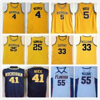 NCAA Michigan Wolverines College 5 Jalen Rose 41 Glen Rice Chris 4 Webber 25 Juwan Howard Jason 33 Williams Florida Gators Basketball Jersey