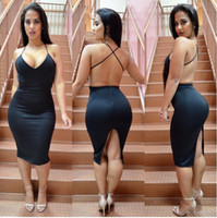 European and American Foreign Trade Fashion Summer Women's Clothes Pure Color V-collar Sexy Night Club Leisure Dresses