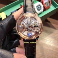 Luxry Watch versión estática Epic X Chrono CR7 Astronómico Tourbillon Skeleton Diamonds Dial Swiss Quartz Rose Gold Case Relojes de cuero