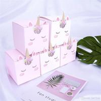 Favores e presentes Papel partido do unicórnio 5pcs Duche Baby Box Kid aniversário decorações de casamento Unicorn Candy Caixa Bag Caixa de presente