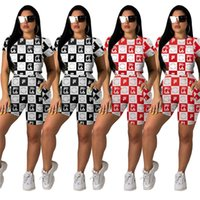 Frau Strumpfhosen Trainingsanzüge Zweiteilige Shorts Sets Tight Top T-Shirt + Shorts Set Plaid Print Sportswear Marke Outfits Kleidung Anzug C61701