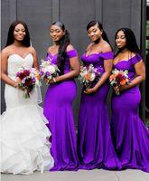 Фиолетовые платья подружки невесты 2019 Великолепный драпированный Милая пляж Boho Длинные богемные свадебные платья для гостей подружки невесты платья дешево