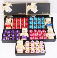 12pcs / scatola romantico fiore di sapone rosa con piccola bambola orso carino grande San Valentino regali / regalo di nozze / regalo di compleanno