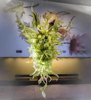 Lampen Dekorative Heimat Große Nepenthes-Kronleuchter Innenansicht Handgeblasenes Glaslaub-Kronleuchter für Eingangshallen Empfangsbereiche
