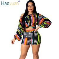 Haoyuan Striped Plus Size 2 Zweiteiler Puff Sleeve Crop Top Und Biker Shorts Sexy Club Sommer Outfits Für Frauen Passende Sets Y19062601
