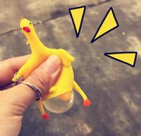 سلسلة 50PCS جديد مفتاح قلادة مضحك محاكاة ساخرة أدوات لعبة الدجاج وضع البيض الدجاج مزدحم الإجهاد الكرة سلسلة المفاتيح هدية الإغاثة كيرينغ