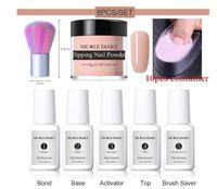 Hot 8Pcs / set Dipping Nagel Glitter Powder Kits Nude Rosa Gradient Französisch Chrome Pigment Natur Fast Dry Ohne Lampe Cure 6 / 4ST