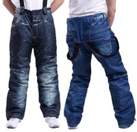 Ski pants Denim Suspenders Thickened Snowboard Pants For Men Winter Waterproof Windproof Breathable with high quality