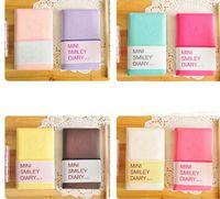 HOT Colorido Mini Sorriso Caderno De Couro 7.5 *. 12.5 CM 192 Folhas de Fio Encadernado 90 g / pc Diário de Moda para Negócios e Estudantes Epacket