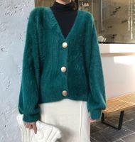 2020 весна Новый дизайн женщин v-образным вырезом однобортный мохера шерсти трикотажные мягкий теплый свитер кардиган пальто плюс размер MLXLXXL casacos