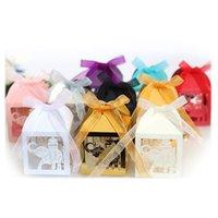 200pcs Lazer Kesim Fil Taşıma Şeker Kutuları Hediye Kutusu ile Kurdele Bebek Doğum Günü Düğün Olay Partisi Dekorasyon Şekeri