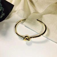 aço amarrado homens e mulheres pulseira da amizade pulseira de prata inoxidável ouro rosa aberta C pulseira em forma designer de jóias de luxo da pulseira