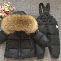러시아어 겨울 진짜 모피 따뜻한 어린이 의류가 여자 아이들이 코트 키즈 소년 자켓 어린이 스노우트 키즈 야외 스키 양복