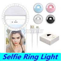 LED Lumière Universelle selfie Light Ring Flash Light Lampe selfie Bague d'éclairage Photographie caméra pour Iphone Samsung avec emballage de détail
