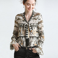 45582be620301 wholesale 100% silk womens blouses shirts with animal print long flare  sleeves v neckline with tassel free shipping